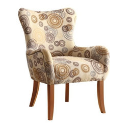 Adarn Inc - Beige Transitional Accent Chair w/ Nailhead Trimming - You'll have a nice accent for your home decor with this plush chair. The piece carries a stencil-like circles on tan fabric and features nailhead trimming as well as espresso finish legs for a truly complete look. There will be a lot to like with this accent chair in your home.