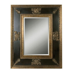 Uttermost Cadence Floor Mirror - 48W x 60H in. - Stately decorative flourishes lend the Uttermost Cadence Mirror an air of distinction. The wide frame offers plenty of contrast with antiqued gold-leaf edging and ornamentation that offsets the inner panels distressed black finish and green glaze beautifully. It surrounds a rectangular glass mirror with generous beveled edge. Old-fashioned and exquisite this accent piece will serve equally well in formal dining settings elegant bathrooms and eclectic living rooms. It weighs 76 pounds. Hanging hardware is included. About Uttermost ProductsThe mission of the Uttermost Company is simple: to make great home accessories at a reasonable price. This has been the objective since the family-owned business was founded over 30 years ago. Uttermost manufactures mirrors art metal wall art lamps accessories clocks and lighting fixtures in its Rocky Mount Va. factories. Uttermost provides quality furnishings throughout North and South America Europe and Asia from its state-of-the-art distribution center located on the West Coast of the United States. '