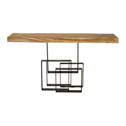 Bambeco Reclaimed Chamcha Wood Console Table - Warm wood, cool metal, fluid natural lines meet geometric steelthe swirling, unpredictable grain of chamcha wood offset by straight, clean lines. Intriguing juxtaposition. Unmistakable character. A balance of elements. Perfect for displaying treasured art, or a welcome entry table.    Dimensions: 60L x 14D x 32.5H   Care: Dust with a soft brush or damp cloth.