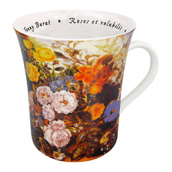 Konitz - Set of 4 Famous Art Mugs 'Les Fleurs Chez Les Peintres' - Burat - The painting shown on this mug is Roses et volubilis by Fanny Burat. French script writing on the interior reads the name of the artist and painting.