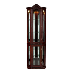 Holly & Martin - Riley Lighted Corner Curio Cabinet, Mahogany - Display your collectables with pride in this lighted curio cabinet. Mirrors are present on both back edges to enhance the lighting of your items and give more visual depth. The rich mahogany finish complements the simple straightforward design with tall vertical panes and decorative arch top. Two adjustable shelves are present in the upper cabinet that can be raised, lowered, or removed to suite your needs. Additionally, the lower cabinet also contains one adjustable shelf. This lighted corner curio is sure to become a cherished piece of furniture in your home.