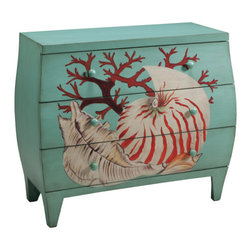 Coastal Style - A true inspiration from nature, this chest is vivid, fun and makes a real statement. Consider it a vacation and storage. The Montijo Sea Life View finish has an ocean blue background, with a wonderful shell and coral motif hand painted on the drawer fronts. The rounded shape keeps an organic feel. Dimensions: 36.25x16x31 (ctc61687)