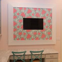 "In-Mirror TVs - Custom bulletin board with 40"" TV. 8.5"" inverted Aspen profile in Dove White with customer provided fabric wrapped cork bulletin board. Exterior dimensions 72"" x 84"" Interior dimensions 55"" x 67"""