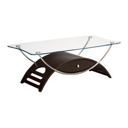 Global Furniture - Global Furniture USA 63WC Meryl Rectangular Clear Glass Coffee Table in Wedge - This modern coffee table is made of tempered glass and is finished in wedge. The chrome pipes makes this table a focus point for any living room.