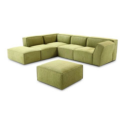 VIG Furniture - 776 Green Microfiber Fabric Sectional Sofa With Matching Ottoman - The 776 sectional sofa will be a great addition for any modern themed living room decor. This sectional comes upholstered in a beautiful green microfiber fabric. High density foam is placed within the cushions for added comfort. The sectional features a simple yet stylish design. A matching ottoman comes included with the sectional.