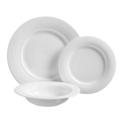 Luigi Bormioli - Luigi Bormioli Eterno 12 pc. Dinnerware Set - HD32049 - Shop for Sets from Hayneedle.com! Three courses soup dinner and dessert are covered for your next dinner party in this elegant and durable Luigi Bormioli Eterno 12 pc. Dinnerware Set. The 12-piece set consists of four dinner plates four dessert plates and four soup bowls all coming in an attractive white and constructed with a durable porcelain material that combines the best advantages of bone china and porcelain. The material is both fracture and thermal shock resistant and is easy to clean resistant to stains and extremely hygienic. The plates and bowls are also all oven microwave and dishwasher safe.About Luigi BormioliFounded in 1946 by Mr. Luigi Bormioli himself the Bormioli family continues Luigi s mission of commitment to great design traditional Italian craftsmanship and new innovative glassmaking technology to produce the world s most beautiful and durable glassware. Producers of wine glasses tumblers decanters and everything in between Luigi Bormioli is located in Parma Italy halfway between Bologna and Milan and is influenced by the region s reputation for art music and higher learning. Bormioli s glassmaking construction rivals fine crystal in its appearance but is 100-percent lead-free affordable and widely available.