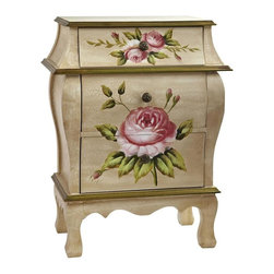 Nearly Natural - Night Stand with Floral Art - Three drawers. Classic floral look. An ideal accent piece. Makes a thoughtful gift. Beige, pink and gold color. 20.5 in. W x 12 in. D x 26.5 in. HAn ideal accent piece to a bedroom or anywhere else a pretty night stand fits the bill, this night stand has become one of our most requested items. It displays a classic floral pattern with an old-fashioned antique design. Quite frankly, to see it is to fall in love with it. it also makes a thoughtful gift for someone who appreciates beautiful things.