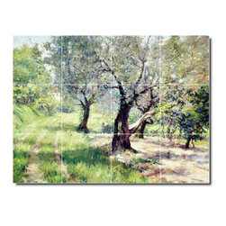Picture-Tiles, LLC - The Olive Grove Tile Mural By William Chase - * MURAL SIZE: 24x32 inch tile mural using (12) 8x8 ceramic tiles-satin finish.