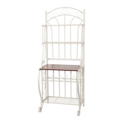 Old Dutch International - Baker's Rack with Wine Rack, Linen White - This beautiful Scroll Bakers Rack is made of steel with a textured Linen White powder coat finish. It offers plenty of storage in a small footprint.  Above the large, wood grain-finished particleboard counter are two ventilated metal shelves. Ideal for storing & displaying cookbooks. Below the wood grain counter is a built-in five-bottle wine rack, and below that another large, full depth ventilated metal shelf.   Assembly required.