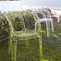 "Horchow - Red ""Alfresco Mazatlan"" Outdoor Chair - Brighten up a patio or other outdoor living space with fun wire chairs. Stackable so they can be easily stored between uses. Made of hand-welded, powder-coated metal. Outdoor safe. 20.75""W x 22""D x 28.5""T. Seat, 16.5""T; arms, 27""T. Boxed weight, appr..."