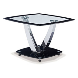 Global Furniture - End Table in Black - This contemporary table boasts plenty of style with a chrome and black base and clear glass top with a tinted black edge this piece will make the perfect addition to your living space.
