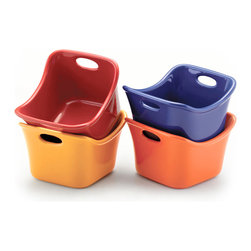 Rachael Ray Bubble & Brown Square Single Ramekin Set Assorted - Excite your dinner guests by serving your favorite baked dish in these Bubble & Brown. square ramekins. It will be a personal touch they'll be sure to remember.