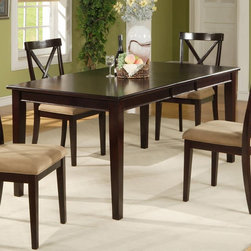 Alpine Furniture - Alpine Furniture Jackson Dining Table with Extension Leaf - Dark Cherry Multicol - Shop for Dining Tables from Hayneedle.com! Give your dining room a refresh with this Alpine Furniture Jackson Dining Table with Extension Leaf - Dark Cherry. The elegant design is modeled after the iconic farm table and features a large surface and four tapered legs. This allows for maximum dining space and leg room! Crafted from rubberwood solids and birch veneers to be durable it is finished with a dark cherry stain that pairs well with most decor schemes. Comfortably seat up to six people or add the extension leaf to seat two more.About Alpine CorporationAlpine Corporation has offices in Arizona Colorado Florida Iowa and Ohio. With a firm belief in the free enterprise system Alpine Corporation promotes equal treatment for customers employees shareholders suppliers and the community. Alpine Corporation carries a vast array of items including fountains pond and garden accessories and statuary and carries lighting and parts as well. A steadfast goal for Alpine Corporation is to continually exceed their customers' increasing expectations.
