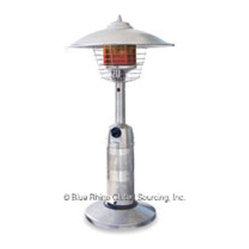 Blue Rhino - ES Gas Outdr Tabletop Heater - Endless Summer Round Table Top Outdoor Patio Heater... Do you need a great looking table top heater for your backyard deck table? This tabletop patio heater is a compact heater that fits right on top of the patio table so your guests feel warm during dinn
