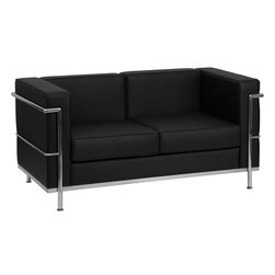 Flash Furniture - Flash Furniture Hercules Regal Series Contemporary Black Leather Loveseat - This attractive black leather reception love seat will complete your upscale reception area. The design of this love seat allows it to adapt in a multitude of environments with its smooth upholstery and visible accent stainless steel frame. [Z-BREGAL-810-2-LS-BK-GG]