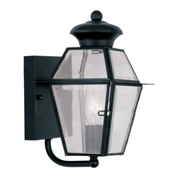 Livex Lighting - Livex Westover 2180-04 1-Light Outdoor Wall Lantern in Black - 2180-04 - Shop for Wall Mounted from Hayneedle.com! With its beautiful timeless style the Livex Westover 2180-04 1-Light Outdoor Wall Lantern in Black makes a lovely addition to any home's outdoor decor. Built from durable metal and finished in black this outdoor wall lantern has a clear beveled glass shade to ensure plenty of warm welcoming light.About Livex LightingLivex Lighting is a manufacturer and distributor of decorative residential lighting. The company was founded in 1993 and is now headquartered in a 150 000-square-foot facility in Morristown New Jersey. Livex Lighting currently offers over 2 500 products ranging from lighting fixtures for indoor and outdoor applications to lampshades chandelier shades ceiling medallions and accent furniture. The goal of Livex Lighting is to provide the highest-quality product at the most affordable price. We are constantly responding to the ever-changing needs styles and fashions of the lighting industry while always maintaining the highest standards of quality.