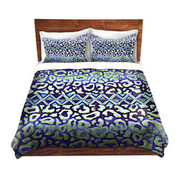 DiaNoche Designs - Duvet Cover Microfiber by Julia Di Sano - Leopard Trail Blue - DiaNoche Designs works with artists from around the world to bring unique, artistic products to decorate all aspects of your home.  Super lightweight and extremely soft Premium Microfiber Duvet Cover (only) in sizes Twin, Queen, King.  Shams NOT included.  This duvet is designed to wash upon arrival for maximum softness.   Each duvet starts by looming the fabric and cutting to the size ordered.  The Image is printed and your Duvet Cover is meticulously sewn together with ties in each corner and a hidden zip closure.  All in the USA!!  Poly microfiber top and underside.  Dye Sublimation printing permanently adheres the ink to the material for long life and durability.  Machine Washable cold with light detergent and dry on low.  Product may vary slightly from image.  Shams not included.