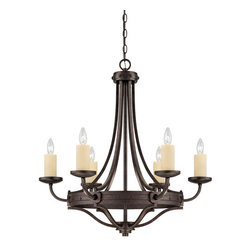 Savoy House - Craftsman / Mission 6 Light Chandelier from the Elba Collection - Savoy House 1-2010-6 Elba 6 Light ChandelierOversized candle sleeves, long, clean lines, and a chunky riveted detail add to the authenticity of this forged iron piece.Features: