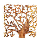 Kammika - Sustainable Wood Wall Panels Tree of Life Thru 18x18 inch Set of 3 Livos Oak Oil - This Sustainable Wood with Eco Friendly Natural, Food-safe Livos Oak Oil Finish Wall Panels Tree of Life Through tri-panel set (each panel is 18 inch x 18 inch x 1 inch) shows the body of the tree, tree trunks, the covering, branches, life cycle, and slice with rings to count. Hand carved   and chiseled for a 3D look, each panel has two hangers on the back. The concept of a many-branched tree illustrating the idea that all life on earth is related has been used in science, religion, philosophy, and mythology. Two varieties of the fig, the Banyan tree and the Peepal tree are two of the most revered, and both are considered the trees of life. The Banyan symbolizes fertility; it is also referred to as the tree of immortality. After each Sustainable Monkey Pod Wood (Acacia, Koa, Rain Tree grown for wood carving) panel is kiln dried, carved and sanded, it is hand rubbed with Eco Friendly, Natural food-safe Livos Oak Oil  that is food-safe and water resistant for an easy care surface and durability. The light and dark portions of wood turn to darker shades of brown over time and the alkaline in the oils create a honey orange color. There is no oily feel.  No chemicals are used in the process, ever. Made from the thick branches of the quick-growing Acacia tree in Thailand - where each branch is cut and carved to order (allowing the tree to continue growing), after each panel is carved, kiln dried, sanded, and finished, they are packaged with cartons from recycled cardboard with no plastic or other fillers. As this is a natural product, the color and grain of your panels will be completely unique, and may include small checks or cracks that occur when the wood is dried. Sizes are approximate. Products could have visible marks from tools used, patches from small repairs, knot holes, natural inclusions, and/or worm holes. There may be various separations or cracks on your piece when i