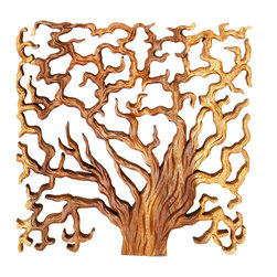 Kammika - Sustainable Wood Wall Panels Tree of Life Thru 18x18 inch Set of 3 Livos Oak Oil - This Sustainable Wood with Eco Friendly Natural, Food-safe Livos Oak Oil Finish Wall Panels Tree of Life Through tri-panel set (each panel is 18 inch x 18 inch x 1 inch) shows the body of the tree, tree trunks, the covering, branches, life cycle, and slice with rings to count. Hand carved   and chiseled for a 3D look, each panel has two hangers on the back. The concept of a many-branched tree illustrating the idea that all life on earth is related has been used in science, religion, philosophy, and mythology. Two varieties of the fig, the Banyan tree and the Peepal tree are two of the most revered, and both are considered the trees of life. The Banyan symbolizes fertility; it is also referred to as the tree of immortality. After each Sustainable Monkey Pod Wood (Acacia, Koa, Rain Tree grown for wood carving) panel is kiln dried, carved and sanded, it is hand rubbed with Eco Friendly, Natural food-safe Livos Oak Oil  that is food-safe and water resistant for an easy care surface and durability. The light and dark portions of wood turn to darker shades of brown over time and the alkaline in the oils create a honey orange color. There is no oily feel.  No chemicals are used in the process, ever. Made from the thick branches of the quick-growing Acacia tree in Thailand - where each branch is cut and carved to order (allowing the tree to continue growing), after each panel is carved, kiln dried, sanded, and finished, they are packaged with cartons from recycled cardboard with no plastic or other fillers. As this is a natural product, the color and grain of your panels will be completely unique, and may include small checks or cracks that occur when the wood is dried. Sizes are approximate. Products could have visible marks from tools used, patches from small repairs, knot holes, natural inclusions, and/or worm holes. There may be various separations or cracks on your piece when it arrives. There will be some slight variation in size, color, texture, and finish color.Only listed product included.