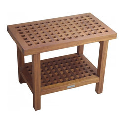 "Aqua Teak - 24"" Teak Shower Bench - From the Grate Collection - This lovely grate style teak shower bench is ideal for the patio, bathroom, shower, or pool deck. Built using stainless steel hardware and naturally water resistant teak wood, this teak shower seat is suitable for use both indoors and outdoors. This solid teak shower stool includes a convenient shelf for additional storage space, making it both beautiful and functional! The rubber padded feet also ensure safety and stability in any location. We are so confident that you will love your teak bath bench that we offer a 30 day satisfaction guarantee and 5 year warranty on all of our products. (Some assembly required) Dimensions: 24""w x 18""h x 13""d"