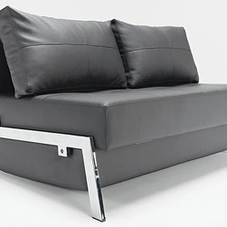 "Innovation USA - ""Innovation USA"" Cubed Deluxe Sofa Bed in Black Leather Textile - Provide your overnight guests with the comfortable sleeping surface with this unique and compact ""Innovation USA"" Cubed Deluxe Sofa Bed The sofa bed comes with durable frame made of steel in chrome finish, and soft seating, featured by iComfort springs. The sofa can be transformed into a comfortable bed by night and back easily. Upholstered in Black leather textile.    Features:"