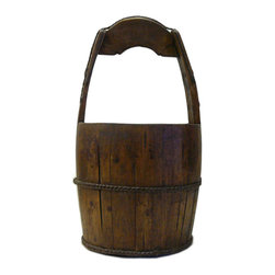 "Golden Lotus - Vintage Reproduction Chinese Rustic Round Wood Handle Bucket - Dimensions:   Dia 10""x  h19.5"""