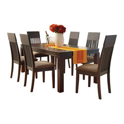 "Acme - 7 PC Medora Espresso Finish Wood Dining Table Set with Fabric Upholstered Seats - 7-Piece Medora espresso finish wood dining table set with fabric upholstered seats and slatted back chairs. This set includes the table and 6 side chairs. Table features an espresso finish wood large legs, and the chairs are upholstered with a fabric upholstery . Table measures 39"" x 72"". Chairs measure 43"" H to the back. Some assembly required."