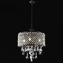 None - Antique Bronze 4-light Round Crystal Chandelier - Add a classy touch to your home decor with this round crystal chandelier. This light fixture features an antique bronze finish with small, elegant crystal details.