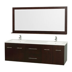 Wyndham - Centra Vanity Double 72in. in Espresso w/ White Stone Top & Square sinks - Simplicity and elegance combine in the perfect lines of the Centra vanity by the Wyndham Collection. If cutting-edge contemporary design is your style then the Centra vanity is for you - modern, chic and built to last a lifetime. Available with green glass, white carrera marble or pure white man-made stone counters, and featuring soft close door hinges and drawer glides, you'll never hear a noisy door again! The Centra comes with porcelain, marble or granite sinks and matching mirrors. Meticulously finished with brushed chrome hardware, the attention to detail on this beautiful vanity is second to none.