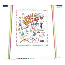 CATSTUDIO - Ski Sun Valley Dish Towel by Catstudio - This original design celebrates Ski Sun Valley.  This design is silk screened, then framed with ahand embroidered border on a 100% cotton dish towel/ hand towel/ guest towel/ bar towel. Three stripes down both sides and hand dyed rick-rack at the top and bottom add a charming vintage touch. Delightfully presented in a reusable organdy pouch. Machine wash and dry.