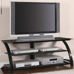 Coaster - Contemporary Metal TV Stand - Two spacious black tempered glass shelves. Top weight capacity: 60 lbs.. Lower and middle shelves weight capacity: 40 lbs.. Slick black metal sturdy frame. 48 in. W x 20.5 in. D x 19.5 in. H. WarrantyThis stylish contemporary media console will be a lovely addition to your home, perfect for your living room or family room. Add this slick console to your home for an instant style update.