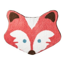 Girl-Shaped Fox Rug, Florida Coral - A fox kids' rug is just what you need to make any space more fun.