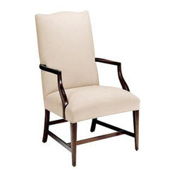 Ethan Allen - Martha Washington Chair - Her reputation precedes her - her chair follows. The classic eighteenth century silhouette is replete with a high upholstered back and short arms resting on incurvate supports.  A gracious accent, dining, or secretary desk chair, it's beautiful in tight, tailored fabric or leather, and even more versatile with an optional, relaxed tieback slipcover in a plethora of fabrics.
