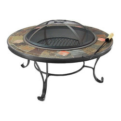 "Sunnydaze Decor - Mosaic Fire Pit Table with Copper Accents - Total Diameter : 33""; Total Height: 14""; Total Weight: 57 lbs"