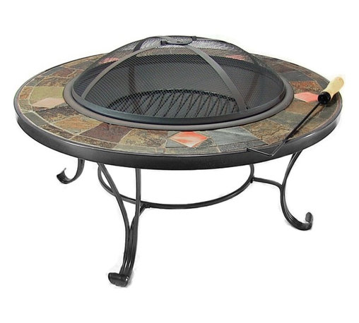 """Sunnydaze Decor - Mosaic Fire Pit Table with Copper Accents - Total Diameter : 33""""; Total Height: 14""""; Total Weight: 57 lbs"""
