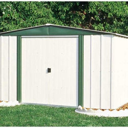 Arrow Shed - Arrow Shed Hamlet 10 x 8 Storage Shed Multicolor - HM108-A - Shop for Sheds and Storage from Hayneedle.com! For a picture perfect lawn and garden all you need is an Arrow Shed Hamlet 10 x 8 Storage Shed. Whether you're tidying up lawn implements athletic equipment or holiday decorations this shed provides you the perfect place to quickly stow all those outside necessities that aren't always necessary to have outside. The beautifully paired eggshell and green-meadow color combination adds a romantic touch of the lush countryside that compliments any exterior design or landscaping. And the low gable of the reinforced steel roof both avoids rainwater pooling up top and affords you a little extra head room when grabbing your implements. With easy-sliding doors that can be padlocked this shed keeps your items safe and sound. Made in the United States this shed is constructed with electro-galvanized steel making it affordable durable and attractive. With numbered and predrilled parts this shed can be assembled quickly and easily as a weekend project with basic DIY skills.Additional Features:Exterior Dimensions: 123.25W x 95.25D x 70.88H inchesInterior Dimensions: 118.25W x 90D x 69.63H inchesDoor Dimensions: 55.5W x 58H inchesAbout Arrow Storage ProductsEstablished in 1962 as Arrow Group Industries Arrow Storage Products is now the worldwide leader in designing manufacturing and distributing steel storage sheds that are easily assembled from a kit. Arrow Storage Products hasn't garnered its 13 million customers by resting on its laurels either. The company takes great pride in having listened to their customers over the years to develop quality products that meet people's storage needs. From athletic equipment to holiday decorations from tools to recreational vehicles Arrow Storage Products prides itself on providing quality USA-built structures that offer storage solutions. Available in a wide variety of sizes models finishes and colors - Arrow's products are constructed with electro-galvanized steel to be more affordable durable attractive and easy to assemble.