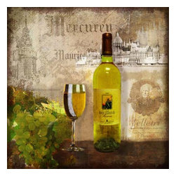 Yosemite Home Decor - Estate Vintage I Art - Linen print of a vintage wine bottle, glass, and grapes in tones of brown, taupe, and green on an aged background accented with metallic overlays.