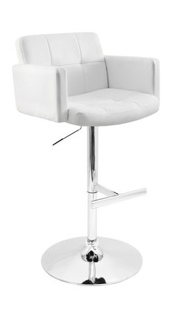 "Lumisource - Stout Bar Stool, White - 23"" L x 24"" W x 37 - 45"" H"