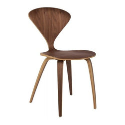"""Cherner Style Side Chair in Walnut by Rove Concepts - Cleverly crafted for minimalist functionality, the organic Rove Concepts Cherner Side Table certainly represents the intentions of the inspiration's designer, Norman Cherner. The molded plywoood visionary has been featured in museums and galleries, as well as artist Normal Rockwell's masterpiece, """"The Artist At Work."""" Taking on an almost bowtie shape, the American Walnut or Natural Ash wood maximizes comfort despite the pared down silhouette. The concave backrest is widest at the shoulders and the seat is curved in order to allow the body to relax easily. It is an organic, streamlined piece suitable for home or office environments."""