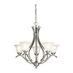 Kichler 5-Light Chandelier - Brushed Nickel - Five Light Chandelier. The Dover collection takes classic design and offers its own unique, modern twist. Characterized by its long, sweeping arms, Dover fixtures offer a clean look while remaining fresh and exciting. With our brushed nickel finish over its hand-wrought steel frame, you can be sure of a high quality fit and finish that is second to none. This 5 light chandelier is perfect for a dining room or foyer. It features etched seedy glass diffusers that help produce a warm light that creates a wonderful ambiance in any home.