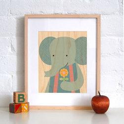 Petit Collage Sweet Elephant - Print on Wood - Sweet Elephant - Print on Wood