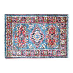 Area Rug, Sky Blue 2'X3' High Quality Kazak Hand Knotted 100% Wool Rug SH11740 - This collections consists of well known classical southwestern designs like Kazaks, Serapis, Herizs, Mamluks, Kilims, and Bokaras. These tribal motifs are very popular down in the South and especially out west.
