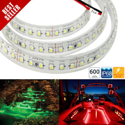 WFLS-X600T series Weatherproof 600 High Power LED Strip Light / sold by reel - WFLS-X600T series Weatherproof flexible LED light strip with 1-chip 3528SMD LEDs. Available in 5 meter (197 in) white finish. Weatherproof flexible light strips with adhesive backing, can be cut into 3-LED segments. 12VDC operation.