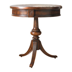 Hooker Furniture - Hooker Furniture Seven Seas Round Pedestal Accent Table - Hooker Furniture - Accent Tables - 50050828 - This round pedestal accent table is propped on a three pronged base. The lovely carved detailing and unique finish will add luxury to your living space. The perfect height to have chair side to display or hold all your favorite small items.
