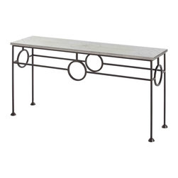 Kathy Kuo Home - Westerly Industrial Zinc Wrapped Iron Console Table - We can't decide if this console is more gorgeous from the top or from the side!  With a zinc top detailed with decorative brads, the top is a fantastic example of industrial style done with flair.  The base, however is a visual treat, creating a frame of interconnected ovals of iron.  Eclectic, vintage and industrial spaces will find this a welcome addition.