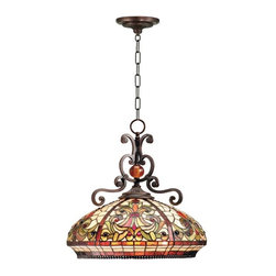 Dale Tiffany - Dale Tiffany Boehme Pendant Lamp - TH101034 - Shade Material: Hand Rolled Art Glass