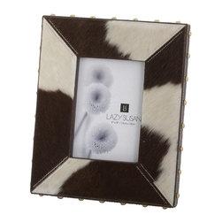 Lazy Susan - Lazy Susan 173033 Holstein Faux Pony Frame - Showcase your favorite photo in an utterly unique fashion. This frame is made from rich brown and white cowhide and embellished with brass studs. Be sure to choose a good snapshot — this is one photo everyone will inspect.
