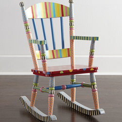"""MacKenzie-Childs - Wee Rocking Chair - MULTI COLORS - MacKenzie-ChildsWee Rocking ChairDetailsChild's rocking chair made of solid hardwood with wood composite seat.Signature designs hand painted in nontoxic paint.18""""W x 26""""D x 32.5""""T.Imported.Boxed weight approximately 25 lbs. Please note that this item may require additional delivery and processing charges.Designer About MacKenzie-Childs:Established in 1983 MacKenzie-Childs combines vibrant colors and patterns to create a whimsical collection of tableware furniture and decorative accessories that epitomize """"tradition with a twist."""" The company's designers draw inspiration from the pastoral setting of their studios located on a 65-acre former dairy farm in Aurora New York."""