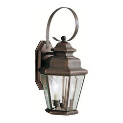 KICHLER - KICHLER 9676OZ Savannah Estates Traditional Outdoor Wall Sconce - The Savannah Estates Collection adds an inspired, historic touch with a dose of southern hospitality to your home quickly and easily with this fine assortment of outdoor fixtures. Kichler's Olde Bronze finish is layered over solid brass, giving each piece an aged look while providing high quality construction. Clear beveled glass panels complete the vintage lantern shape, making the Savannah Estates a collection not to be missed. Uses 60-watt (max.) bulbs and is U.L. listed for wet locations.